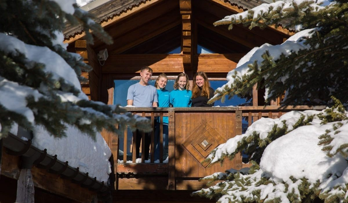 Some of the Richmond Holidays staff team on the ski chalet balcony